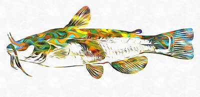 Catfish Mixed Media - Fish Art Catfish by Dan Sproul