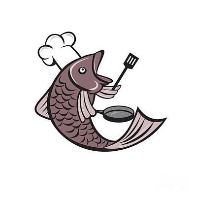 Fries Digital Art - Fish Chef Cook Holding Spatula Frying Pan Cartoon by Aloysius Patrimonio