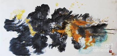 Brush Painting - Fish In Stream 12030015fy by Fumiyo Yoshikawa