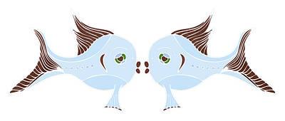Cartoon Drawing - Fish Lovers by Frank Tschakert