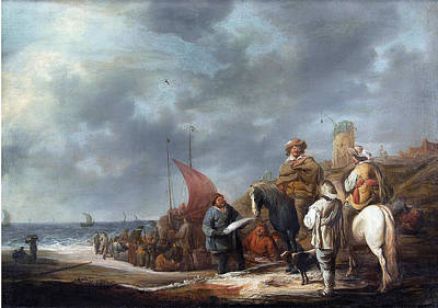 Benjamin Gerritsz Cuyp Painting - Fish Sellers At The Beach by Benjamin Gerritsz Cuyp