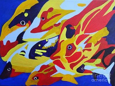 Vivid Colour Painting - Fish Shoal Abstract 2 by Karen Jane Jones