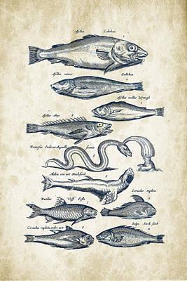 Salmon Digital Art - Fish Species Historiae Naturalis 08 - 1657 - 02 by Aged Pixel