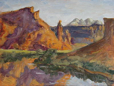Sal Trees Painting - Fisher Tower Castle Valley Moab Utah by Zanobia Shalks