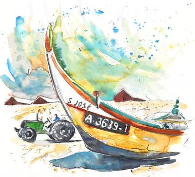 Travel Sketch Drawing - Fisherboat In Praia De Mira by Miki De Goodaboom