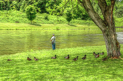 Fisherman Lazy Day At The Lake Print by Randy Steele
