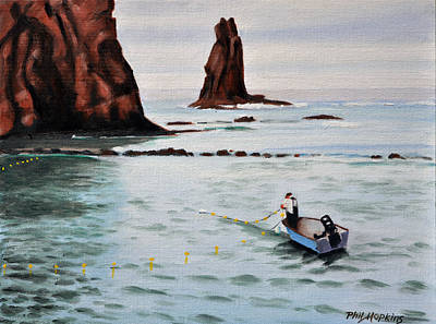Phil Hopkins Painting - Fisherman With His Nets by Phil Hopkins