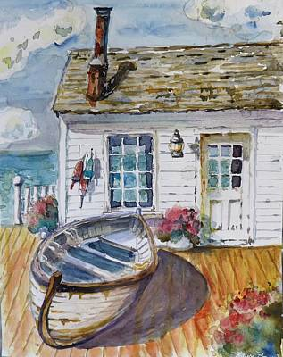 Dingy Painting - Fisherman's Cottage by P Maure Bausch