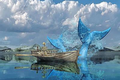 Sharks Digital Art - Fisherman's Tale by Betsy Knapp