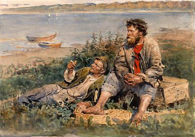 Fishermen By The Volga Print by Vladimir Makovsky