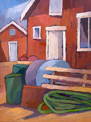 Boathouses Painting - Fishermen Sheds by Lutz Baar