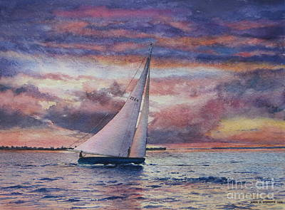 Harbor Sunset Print by Karol Wyckoff