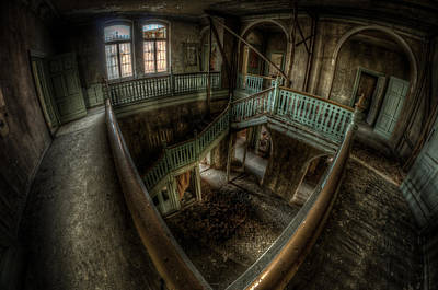 Haunted Mansion Digital Art - Fisheye From Above by Nathan Wright