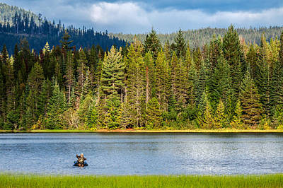 Inflatable Photograph - Fishing Alone by Todd Klassy
