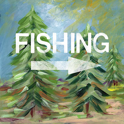 Cabin Painting - Fishing- Art By Linda Woods by Linda Woods