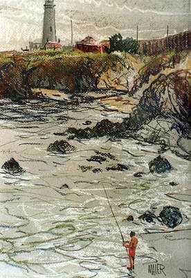 Pigeon Drawing - Fishing At Pigeon Point by Donald Maier
