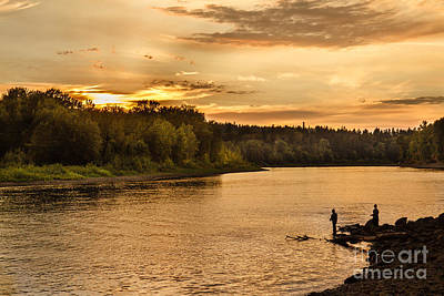 Angling Photograph - Fishing At Sunset by Robert Bales