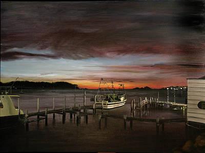 Fishing Bay At Sunrise Print by Elisabeth Dubois