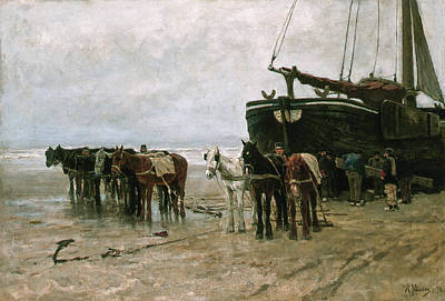 Horse Painting - Fishing Boat And Draught-horses On The Beach by Anton Mauve