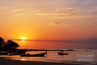 Fishing Boat And Sunset Original by Atiketta Sangasaeng