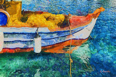 Ella Painting - Fishing Boat by George Rossidis