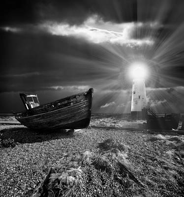 Illuminated Photograph - Fishing Boat Graveyard 7 by Meirion Matthias