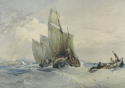 Fishing Boats Print by Charles Bentley