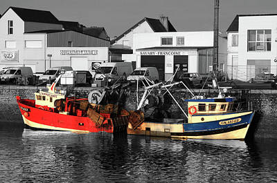 Fishing Boats In Sheltered Harbour Print by Aidan Moran
