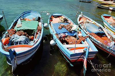 Fishing Boats In The Harbor Of Mondello, Sicily Print by Dani Prints and Images