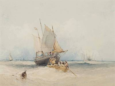 Fishing Boats Off Lowestoft Print by William Callow