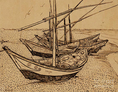 Beach Drawing - Fishing Boats On The Beach At Saintes-maries De La Mer, 1888 by Vincent Van Gogh