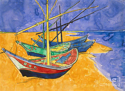 Fishing Boats On The Beach At Saintes Maries De La Mer Print by Vincent Van Gogh