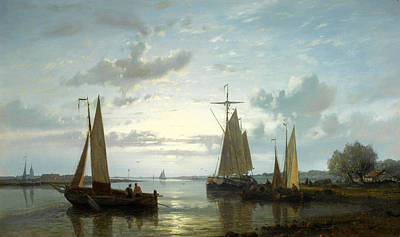 Fishing Boats On The Scheldt Print by Abraham Hulk