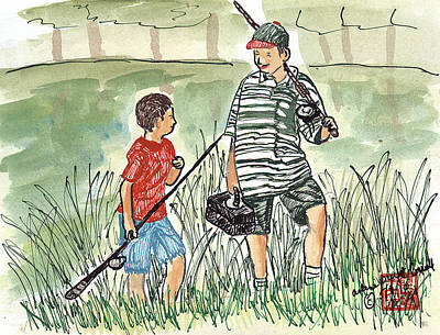 Wash Drawing - Fishing Buddies by Arlene  Wright-Correll