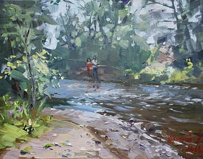 Fishing Day With Viola Original by Ylli Haruni
