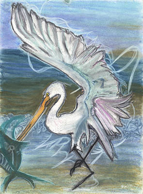 Fishing Egret Print by Stu Hanson
