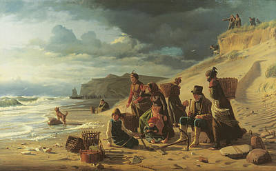 Fishing Families Waiting For Their Men To Return From An Incipient Storm. From Jutland West Coast Print by Carl Bloch