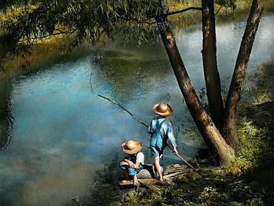 Fishing - Gone Fishin' - 1940 Print by Mike Savad