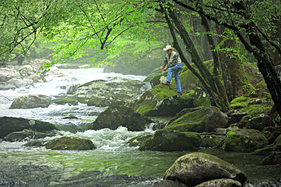Fishing In The Smokies Print by Marty Koch