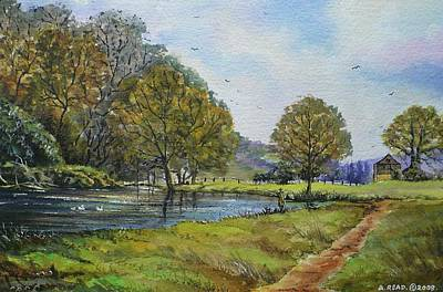 Fishing In The Wye Valley Original by Andrew Read