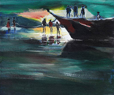 Popular People Painting - Fishing Line by Anil Nene