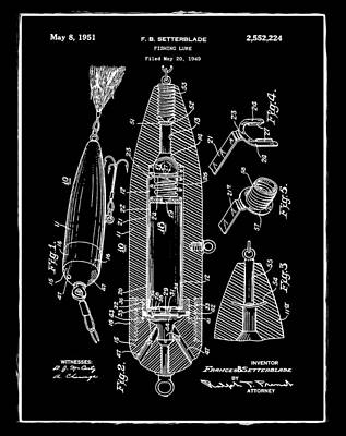Phish Photograph - Fishing Lure Patent 1951 Black by Digital Reproductions