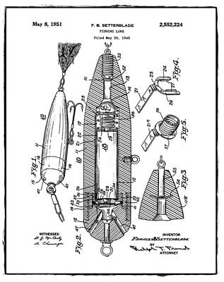 Phish Photograph - Fishing Lure Patent 1951 White by Digital Reproductions