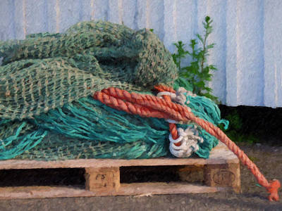 Impressionistic Still Life Painting - Fishing Nets by Lutz Baar