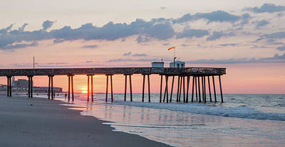 Sun Photograph - Fishing Pier At Sunrise In Ocean City New Jersey by Photographic Arts And Design Studio