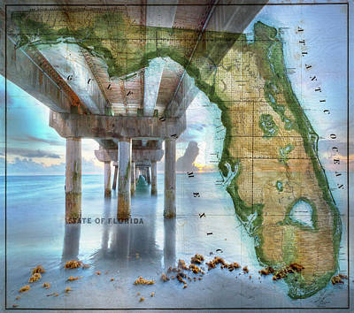 Fishing Piers Of Florida Print by Debra and Dave Vanderlaan