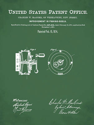 1874 Drawing - Fishing Reel Patent 1874 Green by Bill Cannon