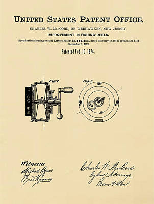 1874 Drawing - Fishing Reel Patent 1874 Sepia by Bill Cannon