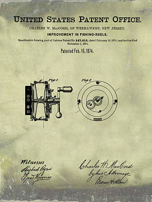 1874 Drawing - Fishing Reel Patent 1874 Vintage  by Bill Cannon