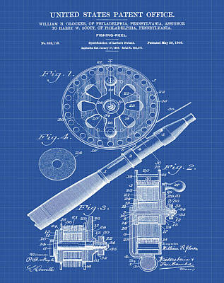 Sepia Chalk Drawing - Fishing Reel Patent 1906 Blueprint by Bill Cannon